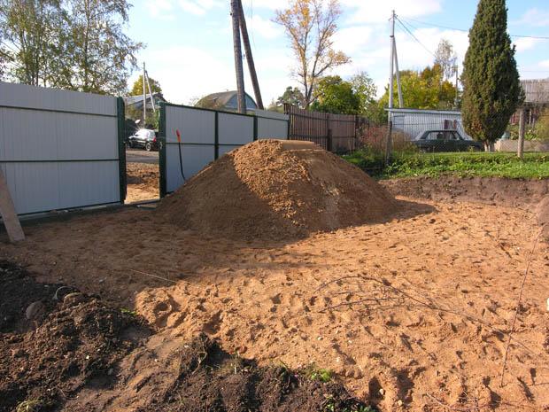 Выравнивание участка песком